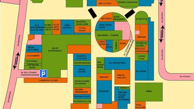 Plattegrond winkelcentrum de Hovel in Goirle